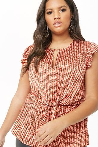 Forever21 Plus Size Tie-front Geo Print Top