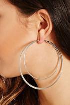 Forever21 Silver Double Hoop Earrings