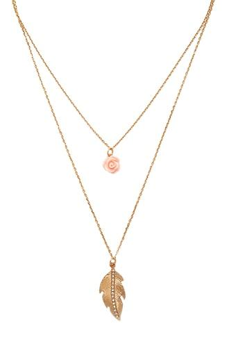 Forever21 Rose Pendant Layered Necklace
