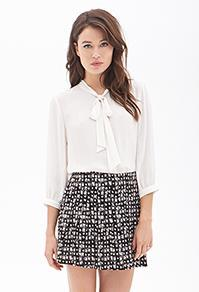 Forever21 Abstract Print Pleated Skirt