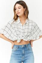 Forever21 Chiffon Grid Print Shirt