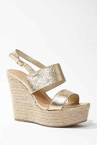 Forever21 Metallic Espadrille Wedges