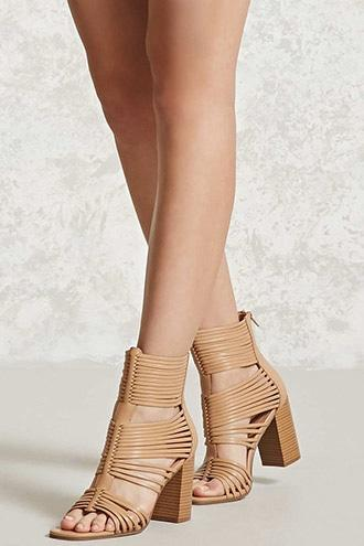 Forever21 Strappy Faux Leather Heels