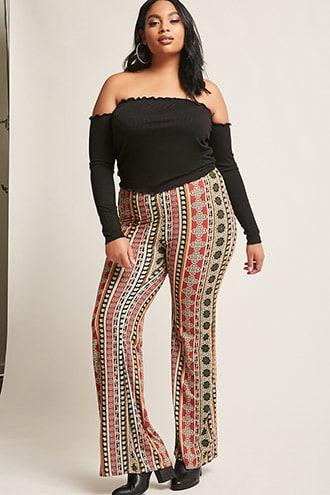 Forever21 Plus Size Ornate Flared Pants