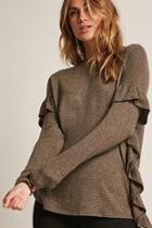 Forever21 Marled Ruffle-trim Knit Top