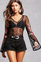 Forever21 Sheer Lace Embroidered Top