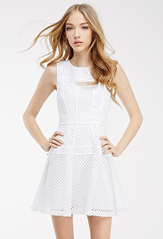 Forever21 Mesh-paneled Fit & Flare Dress White Small