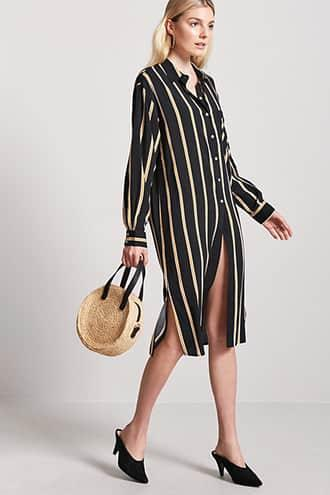 Forever21 Stripe Button-front Shirt
