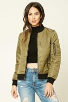 Forever21 Women's  Olive Zip-front Bomber Jacket