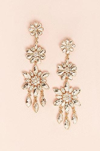 Forever21 Diamante Flower Drop Earrings