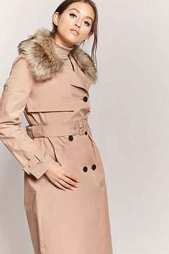 Forever21 Faux Fur-collar Trench Coat