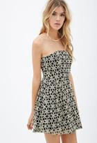 Forever21 Floral-embroidered Strapless Dress