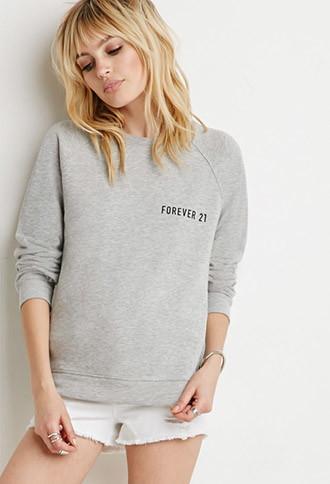 Forever21 Women's  Forever 21 Sweatshirt (heather Grey/black)