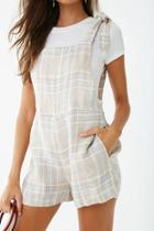 Forever21 Linen Plaid Overall Shorts