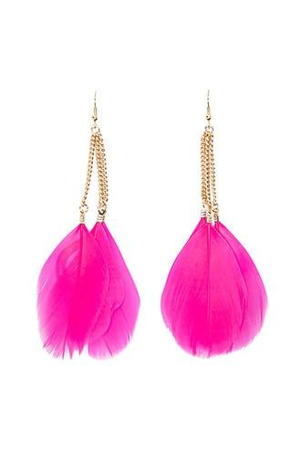 Forever21 Neon Feather Drop Earrings