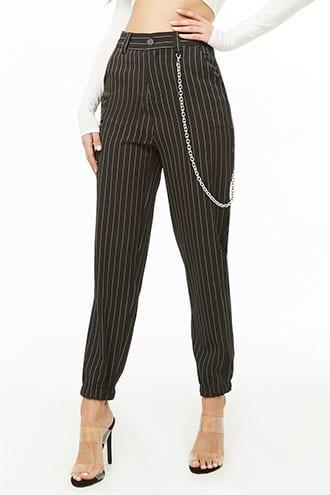 Forever21 Pinstriped Chain Accent Pants
