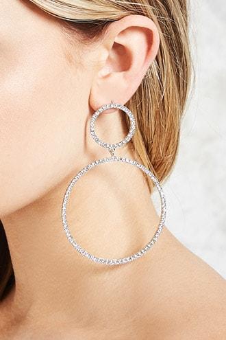 Forever21 Rhinestone Hoop Drop Earrings