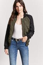 Forever21 Quilted Two-tone Bomber Jacket