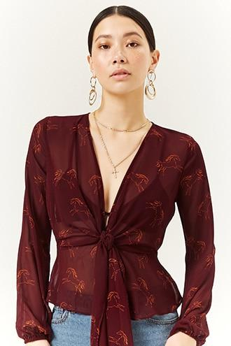 Forever21 Chiffon Horse Print Top