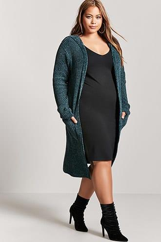 Forever21 Plus Size Chenille Hooded Cardigan
