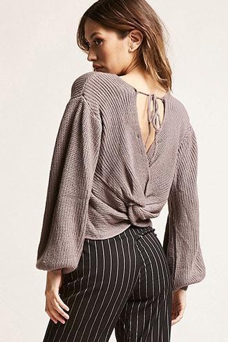 Forever21 Ribbed Twist-hem Sweater