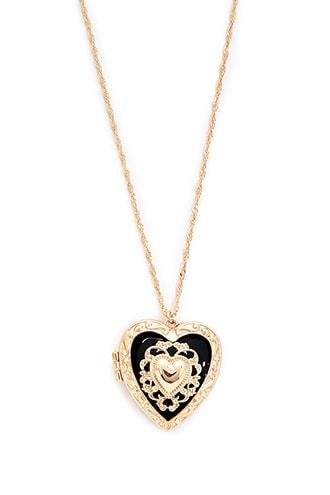 Forever21 Heart Locket Rope Chain Necklace