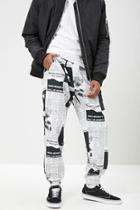 Forever21 Newspaper Print Fleece Joggers