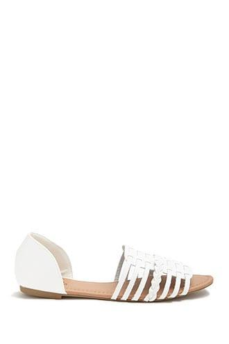 Forever21 Qupid Faux Leather Open-toe Caged Flats