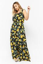 57d9123cfdf81 Forever21 Plus Size Eta Lemon Print Ruffle-trim Maxi Dress