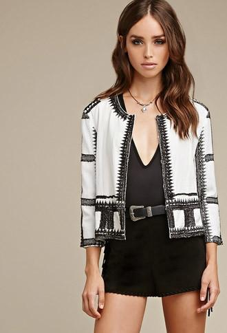 Forever21 Embroidered Collarless Jacket