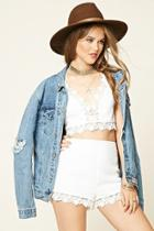 Forever21 Women's  Cream Crochet-trim Crop Top