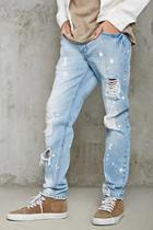 21 Men Men's  Light Denim & White Distressed Slim-fit Jeans