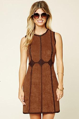 Love21 Women's  Contemporary Faux Suede Dress