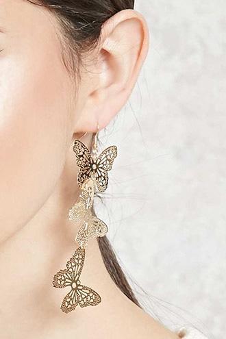 Forever21 Butterfly Drop Earrings