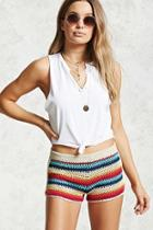 Forever21 Striped Crochet Knit Shorts