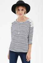 Forever21 Striped Lace-paneled Top