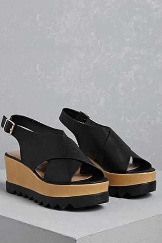 Forever21 Cross Strap Wedge Sandals