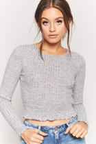 Forever21 Ribbed Fuzzy-knit Top