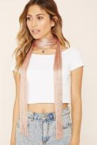 Forever21 Fringed Metallic Knit Scarf