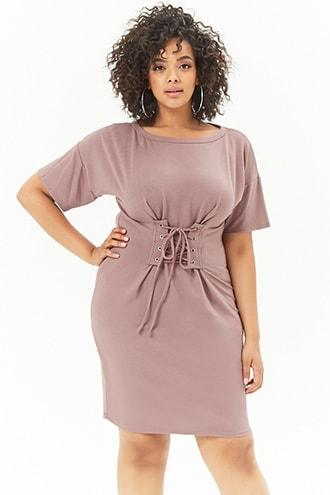 Forever21 Plus Size Lace-up Waist Dress