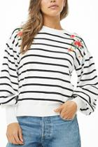Forever21 Striped Floral Embroidered Sweater