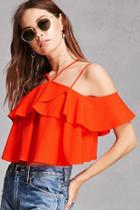 Forever21 Strappy Flounce Crop Top
