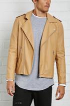 21 Men Men's  Taupe Faux Leather Moto Jacket