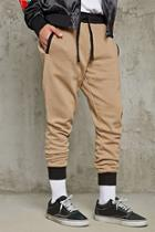 21 Men Men's  Taupe & Black Contrast-trim Knit Joggers
