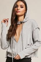 Forever21 Distressed Hooded Top