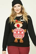 Forever21 Plus Women's  Plus Size Reindeer Sweater