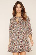 Love21 Women's  Black & Rust Contemporary Floral Print Dress
