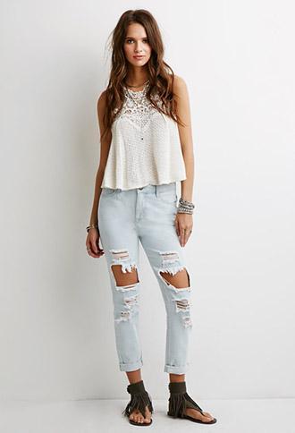 Forever 21 Distressed Cropped Jeans Light Denim 24