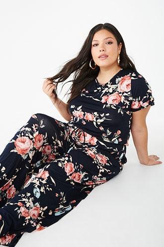 Forever21 Plus Size Floral Tie-front Jumpsuit
