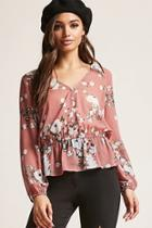 Forever21 Sheer Chiffon Floral Top